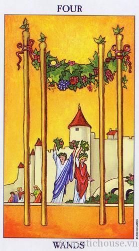 cảm nhận lá bài tarot four of wands