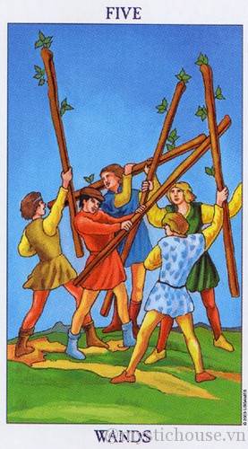 cảm nhận lá bài tarot five of wands