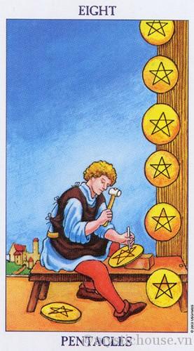 cảm nhận lá bài tarot eight of Pentacles