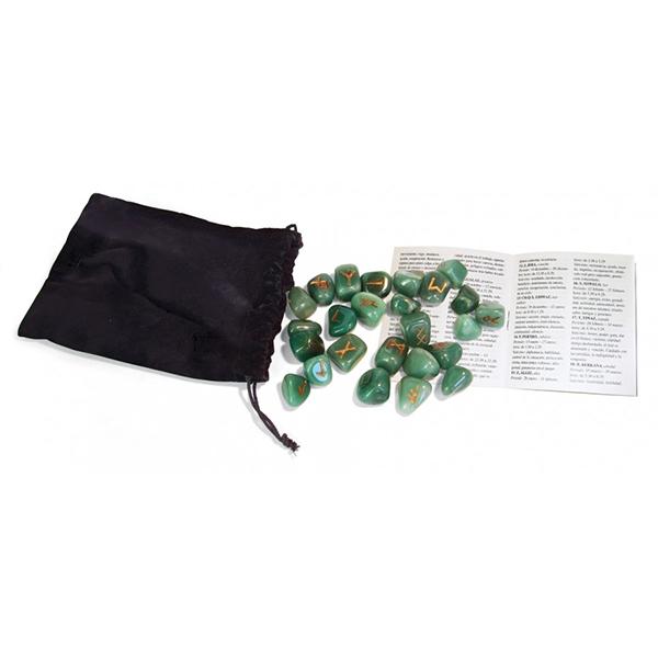 Bộ Đá Runes Green Aventurine 30