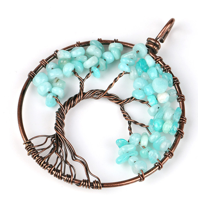 Mặt Dây Chuyền Tree of Life Aquamarine 24