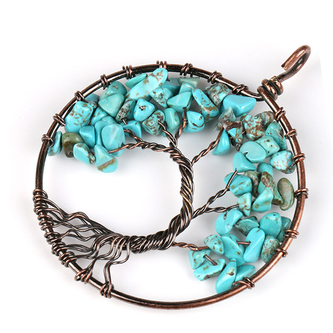 Mặt Dây Chuyền Tree of Life Blue Turquoise 17