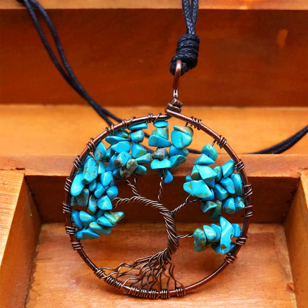Mat Day Chuyen Tree of Life Blue Turquoise