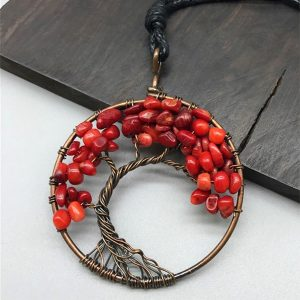Mặt Dây Chuyền Tree of Life Sparkle Red Jasper 4