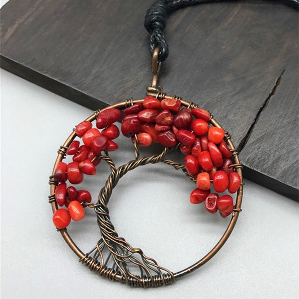 Mặt Dây Chuyền Tree of Life Sparkle Red Jasper 5