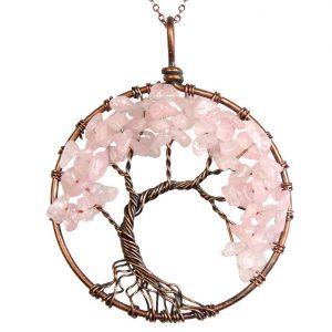 Mặt Dây Chuyền Tree of Life Rose Quartz 10