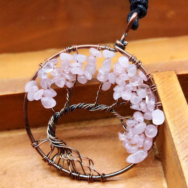 Mat Day Chuyen Tree of Life Rose Quartz