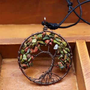 Mặt Dây Chuyền Tree of Life Unakite Jasper 4
