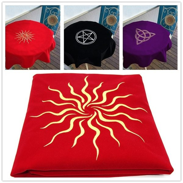 Khăn trải nhung thêu biểu tượng (Sun Red, Triquetra Purple, Pentacle Black) 60×60 290k (10)