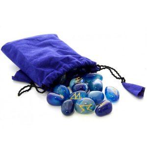 Bộ Đá Runes Blue Quartz 20